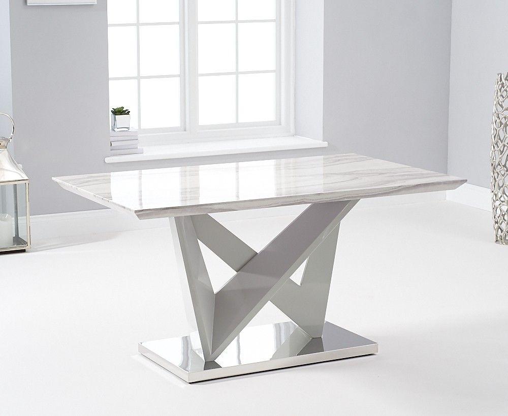 Mark Harris Rosario Light Grey High Gloss Marble Top 150cm Dining Table