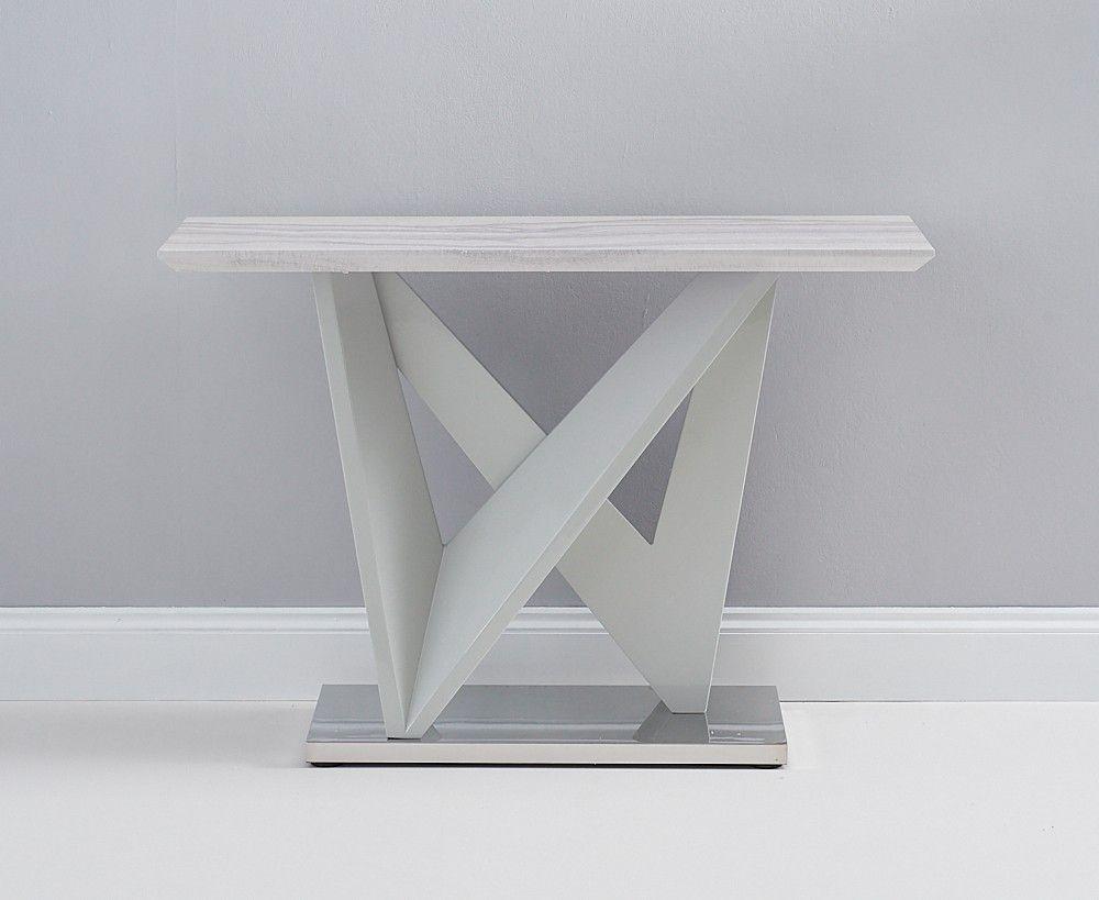 Mark Harris Rosario Light Grey High Gloss Marble Top Console Table