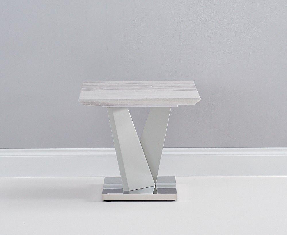 Mark Harris Rosario Light Grey High Gloss Marble Top Lamp Table