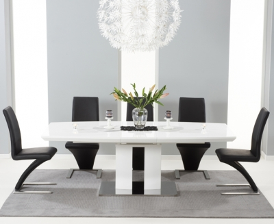 Mark Harris Rossini White High Gloss Extending Dining Table and 6 Hereford Black Chairs