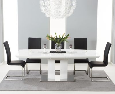 Mark Harris Rossini White High Gloss Extending Dining Table and 6 Malibu Black Chairs