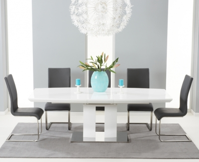 Mark Harris Rossini White High Gloss Extending Dining Table and 6 Malibu Grey Chairs