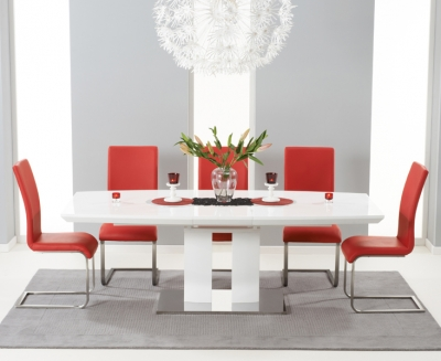 Mark Harris Rossini White High Gloss Extending Dining Table and 6 Malibu Red Chairs