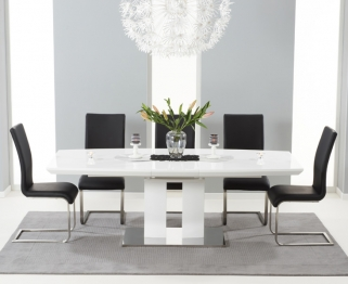 Mark Harris Rossini White High Gloss Extending Dining Set with 6 Black Malibu Dining Chairs