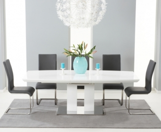 Mark Harris Rossini White High Gloss Extending Dining Set with 6 Grey Malibu Dining Chairs
