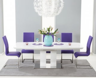 Mark Harris Rossini White High Gloss Extending Dining Set with 6 Purple Malibu Dining Chairs
