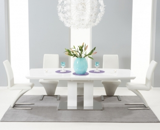 Mark Harris Rossini White High Gloss Extending Dining Set - with 6 White Hereford Chairs