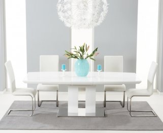 Mark Harris Rossini White High Gloss Extending Dining Set - with 6 White Malibu Chairs