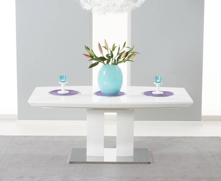 Mark Harris Rossini White High Gloss Extending Dining Table
