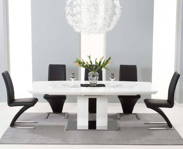 Mark Harris Rossini White High Gloss Extending Dining Set with 6 Black Hereford Dining Chairs
