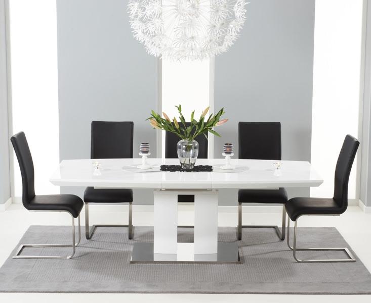 Mark Harris Rossini White High Gloss Extending Dining Set - with 6 Black Malibu Chairs