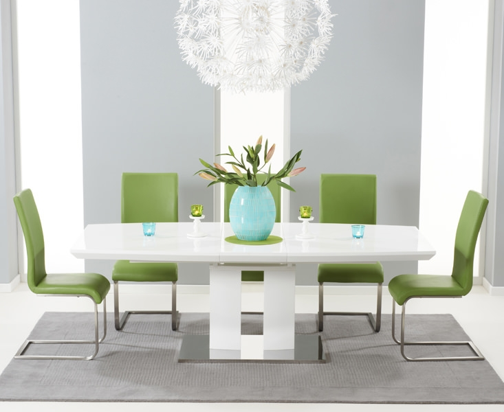 Mark Harris Rossini White High Gloss Extending Dining Set with 6 Green Malibu Dining Chairs