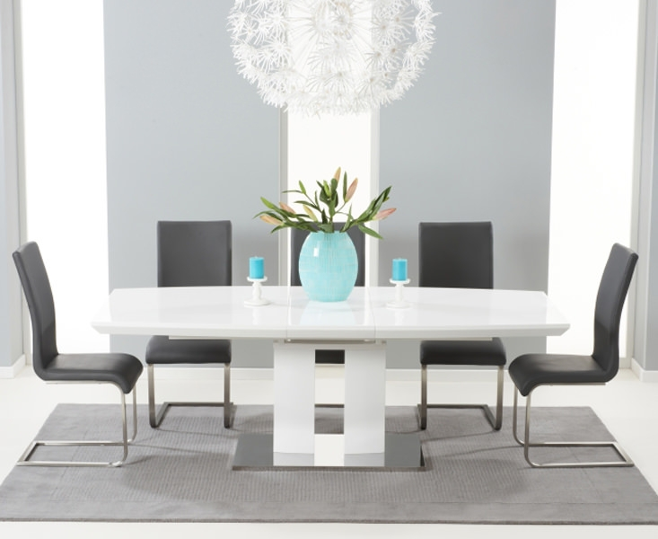 Mark Harris Rossini White High Gloss Extending Dining Set - with 6 Grey Malibu Chairs