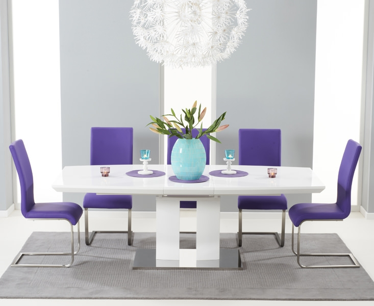 Mark Harris Rossini White High Gloss Extending Dining Set with 6 Purple Malibu Dining Chairs