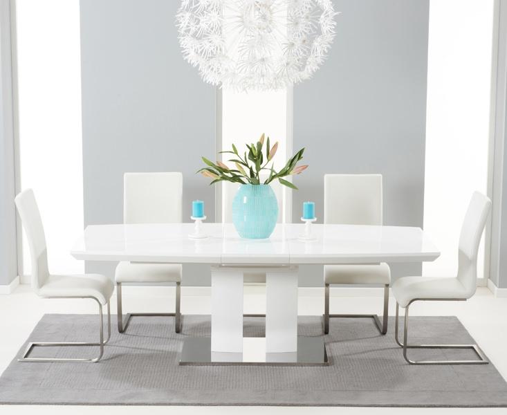 Mark Harris Rossini White High Gloss Extending Dining Set - with 6 White Malibu Chairs