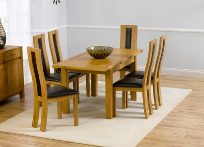 Mark Harris Rustique Solid Oak 120cm Extending Dining Set with 6 Havana Brown Dining Chairs