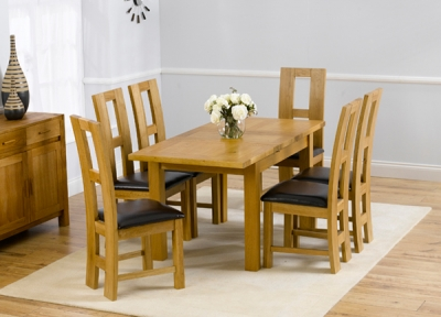 Mark Harris Rustique Solid Oak 120cm Extending Dining Set with 6 John Louis Brown Dining Chairs