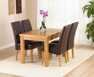 Mark Harris Rustique Solid Oak 120cm Extending Dining Set with 4 Rustique Brown Dining Chairs