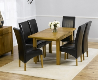 Mark Harris Rustique Solid Oak 120cm Extending Dining Table with 6 Roma Black Chair