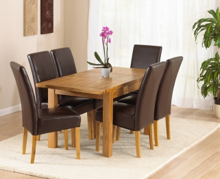 Mark Harris Rustique Solid Oak 120cm Extending Dining Table with 6 Rustique Brown Chair