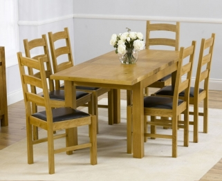 Mark Harris Rustique Solid Oak 120cm Extending Dining Set with 6 Valencia Brown Dining Chairs
