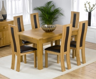 Mark Harris Rustique Solid Oak 150cm Extending Dining Table with 6 Havana Black Chair