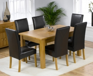 Mark Harris Rustique Solid Oak 150cm Extending Dining Table with 6 Rustique Brown Chair