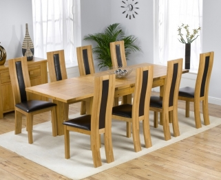 Mark Harris Rustique Solid Oak 150cm Extending Dining Table with 8 Havana Black Chair