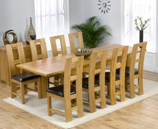 Mark Harris Rustique Solid Oak 150cm Extending Dining Table with 8 John Louis Black Chair