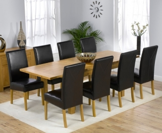Mark Harris Rustique Solid Oak 150cm Extending Dining Table with 8 Rustique Brown Chair