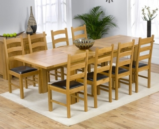 Mark Harris Rustique Solid Oak 150cm Extending Dining Table with 8 Valencia Brown Chair