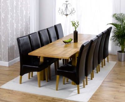 Mark Harris Rustique Solid Oak 180cm Extending Dining Set with 10 Roma Brown Dining Chairs