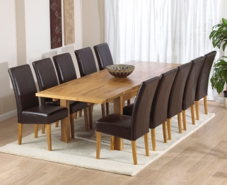 Mark Harris Rustique Solid Oak 180cm Extending Dining Table with 10 Rustique Brown Chair