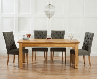 Mark Harris Rustique Solid Oak 180cm Extending Dining Table with 4 Albury Grey Chair