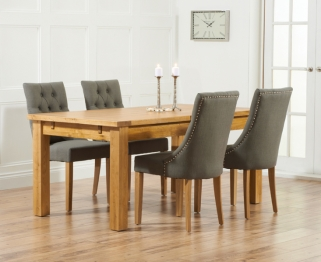 Mark Harris Rustique Solid Oak 180cm Extending Dining Table with 4 Pailin Grey Chair