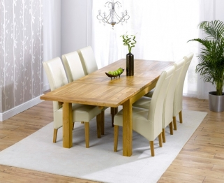 Mark Harris Rustique Solid Oak 180cm Extending Dining Table with 6 Roma Cream Chair