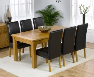Mark Harris Rustique Solid Oak 180cm Extending Dining Table with 6 Rustique Brown Chair