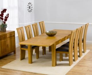 Mark Harris Rustique Solid Oak 180cm Extending Dining Table with 8 Arizona Brown Chair