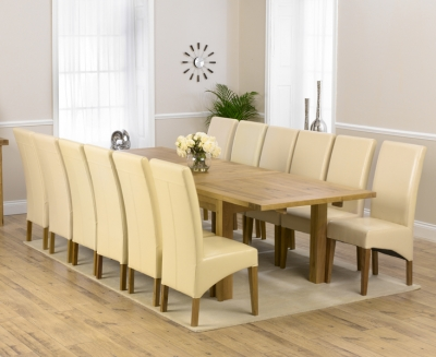 Mark Harris Rustique Solid Oak 220cm Extending Dining Set with 12 Roma Cream Dining Chairs