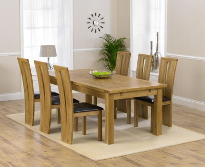 Mark Harris Rustique Solid Oak 220cm Extending Dining Set with 6 Arizona Brown Dining Chairs