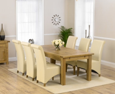 Mark Harris Rustique Solid Oak 220cm Extending Dining Set with 6 Barcelona Cream Dining Chairs