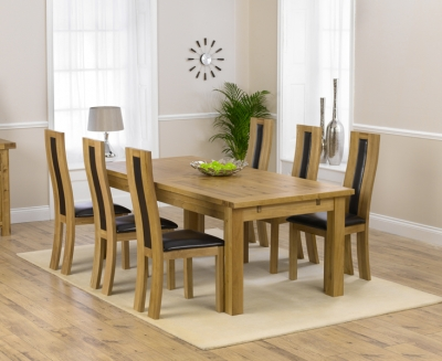 Mark Harris Rustique Solid Oak 220cm Extending Dining Set with 6 Havana Brown Dining Chairs