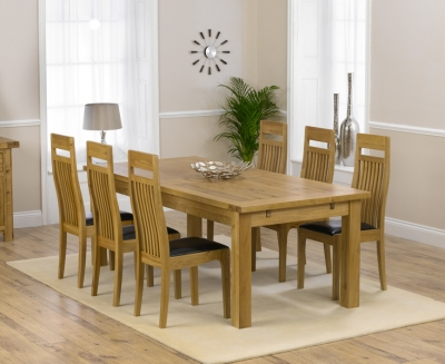 Mark Harris Rustique Solid Oak 220cm Extending Dining Set with 6 Monte Carlo Brown Dining Chairs