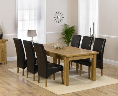 Mark Harris Rustique Solid Oak 220cm Extending Dining Set with 6 Roma Brown Dining Chairs