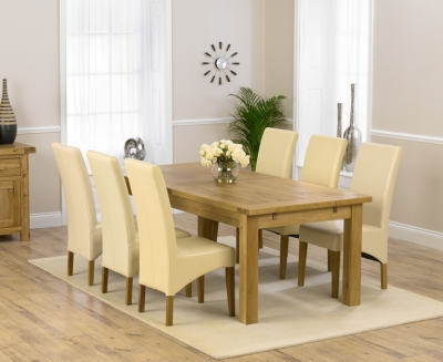 Mark Harris Rustique Solid Oak 220cm Extending Dining Set with 6 Roma Cream Dining Chairs