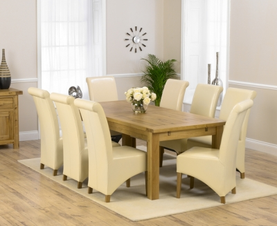 Mark Harris Rustique Solid Oak 220cm Extending Dining Set with 8 Barcelona Cream Dining Chairs