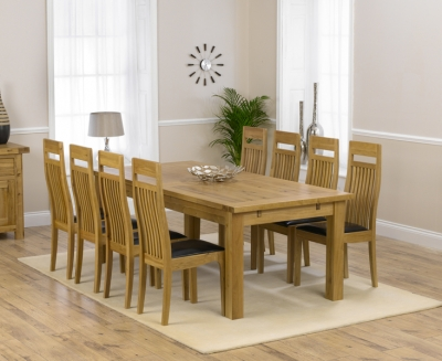 Mark Harris Rustique Solid Oak 220cm Extending Dining Set with 8 Monte Carlo Brown Dining Chairs