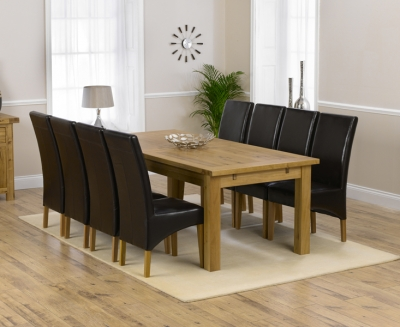 Mark Harris Rustique Solid Oak 220cm Extending Dining Set with 8 Roma Brown Dining Chairs