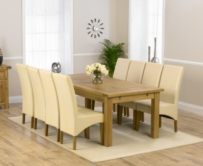 Mark Harris Rustique Solid Oak 220cm Extending Dining Set with 8 Roma Cream Dining Chairs