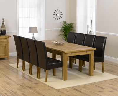 Mark Harris Rustique Solid Oak 220cm Extending Dining Set with 8 Rustique Brown Dining Chairs